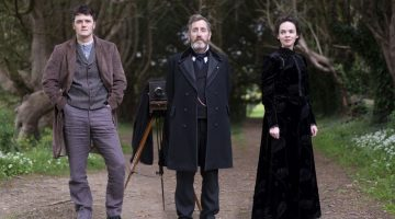 Dead Still starring (L to R) Kerr Logan as Conall Molloy, Michael Smiley as Brock Blennerhasset, and Eileen O'Higgins as Nancy Vickers