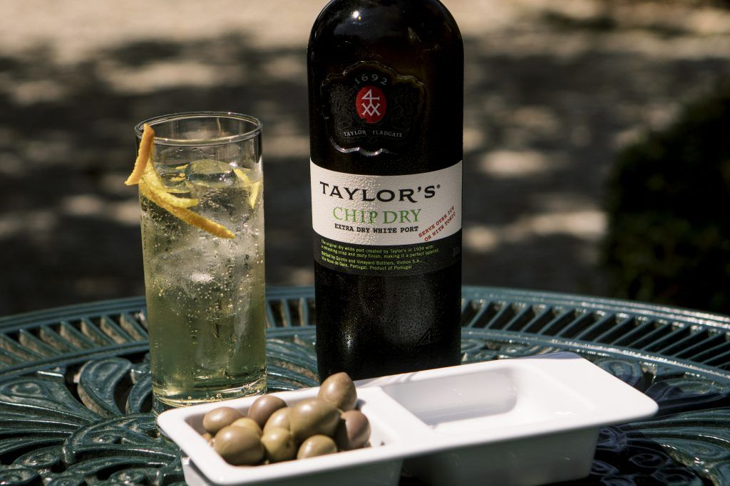 Taylor's Chip Dry Extra Dry White Port with port and tonic and olives(013)
